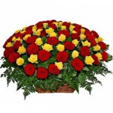 100 Red n Yellow Rose Basket